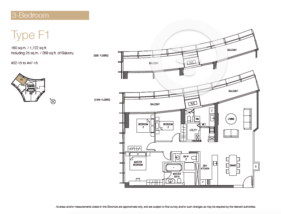 DUO Residences 3br Type F1 - 1722sf